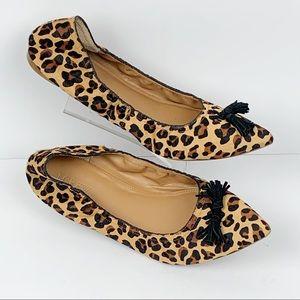 J Crew Calf Hair Leopard Tassel Flats
